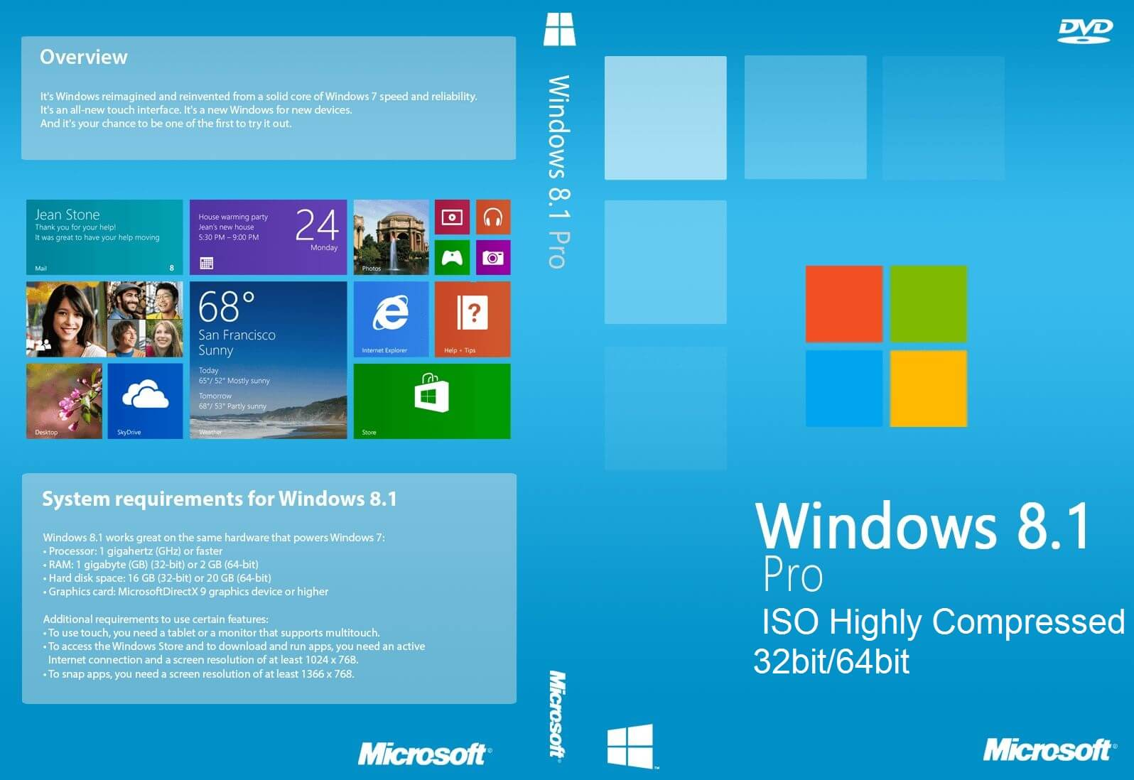Windows 8 1 pro iso highly compressed 32bit 64bit free for Windows windows