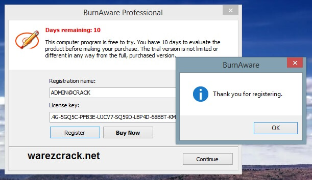 BurnAware Professional Registration Name and License Key
