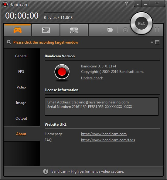 Bandicam 4.5.7.1660 Serial Key