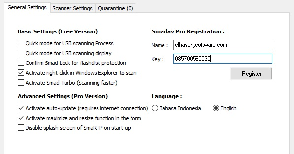 Smadav Pro 11.3.5 Registration Name and Key