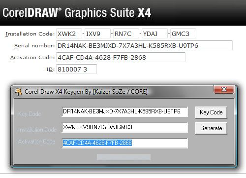 serial key corel draw x4